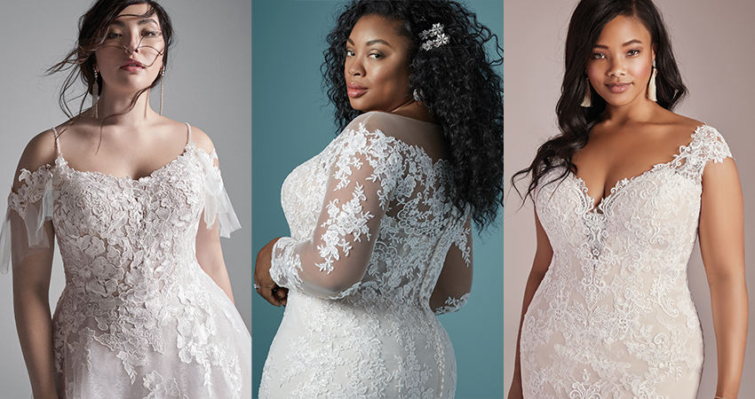 Collage of Curvy Models Wearing Plus Size Off the Shoulder Wedding Dresses
