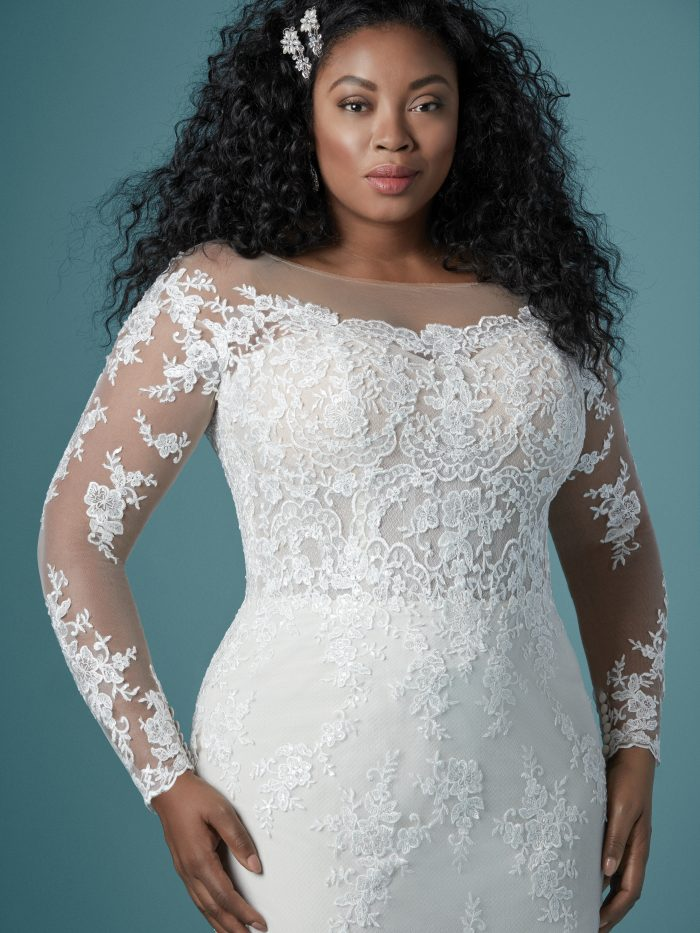Curvy Black Model Wearing Lace Sheath Bridal Gown Called Chevelle Lynette by Maggie Sottero