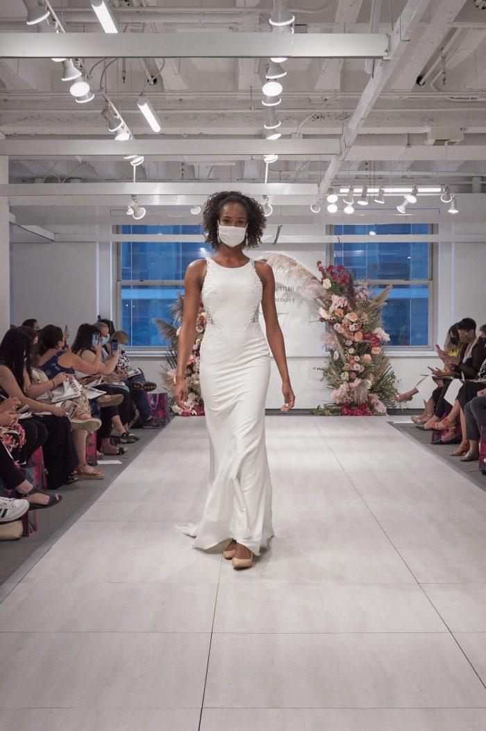 Model Wearing Haltneck Crepe Bridal Gown Called Bellarose by Rebecca Ingram on the Runway