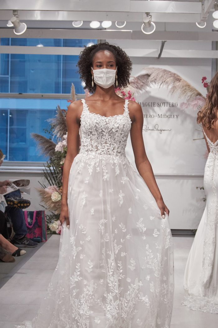Model Wearing Square Neck Floral Wedding Dress Called Mindel by Maggie Sottero on Runway