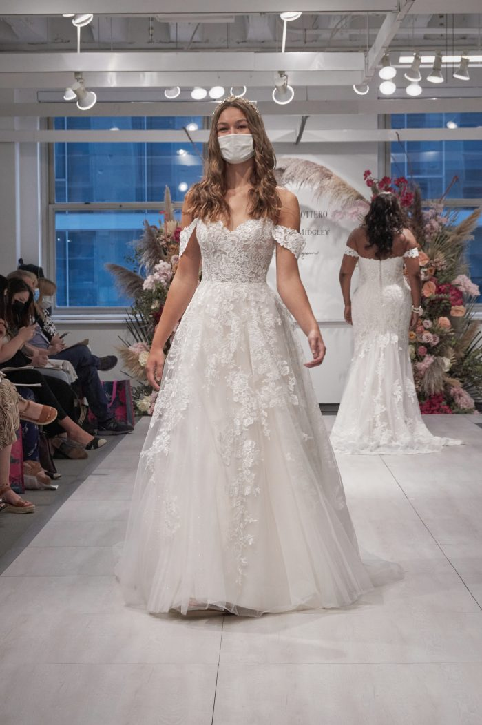 Model Wearing Favorite Wedding Dress with Off-the-Shoulder Sleeves by Maggie Sottero at Chicago 2021 Bridal Market
