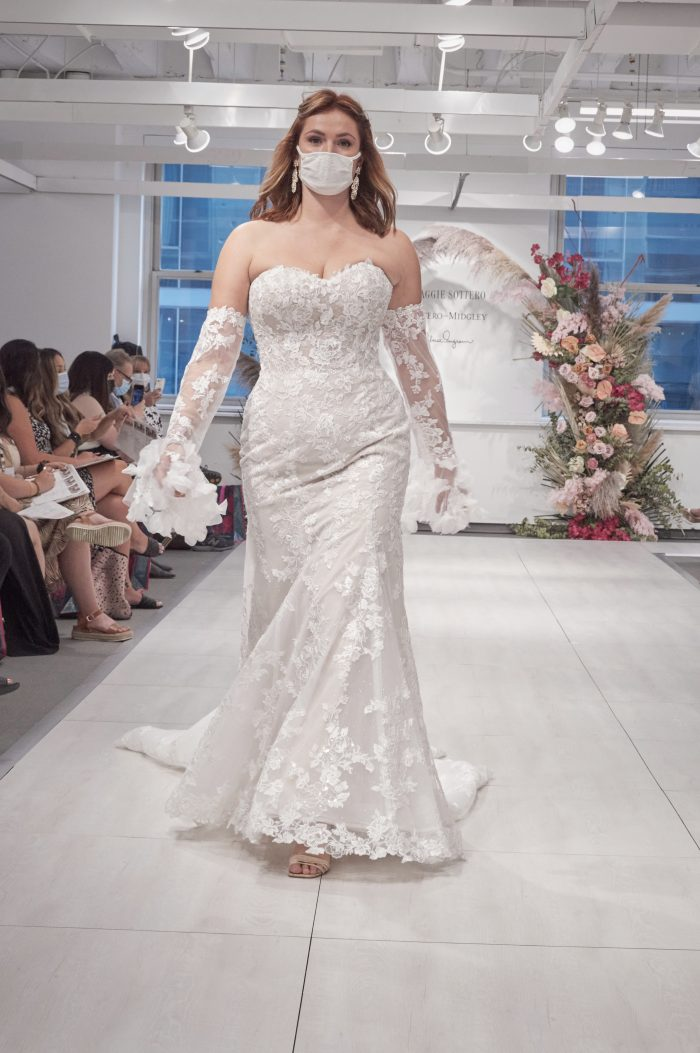 Model on the Runway at 2021 Chicago Bridal Market Wearing Vintage Bridal Dress Called Ryker by Maggie Sottero