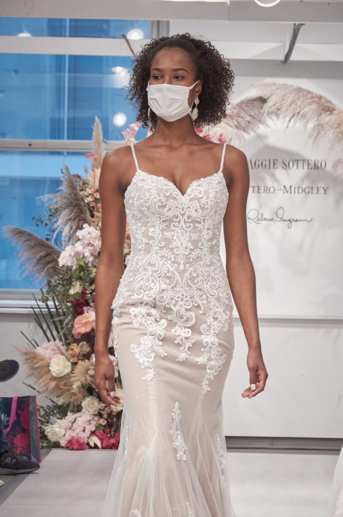 Model Wearing Relaxed Fit-and-Flare Bridal Gown Called Sebastiane by Maggie Sottero on a Runway