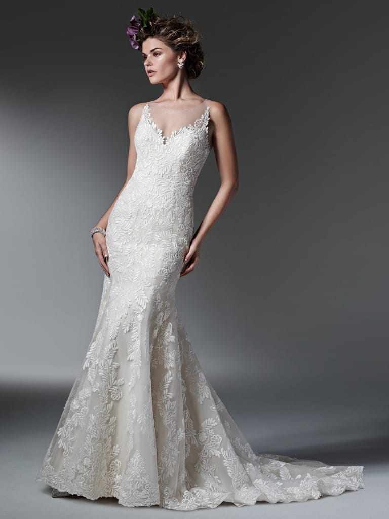 Luxurious fit-and-flare lace wedding dress Silvia by Maggie Sottero
