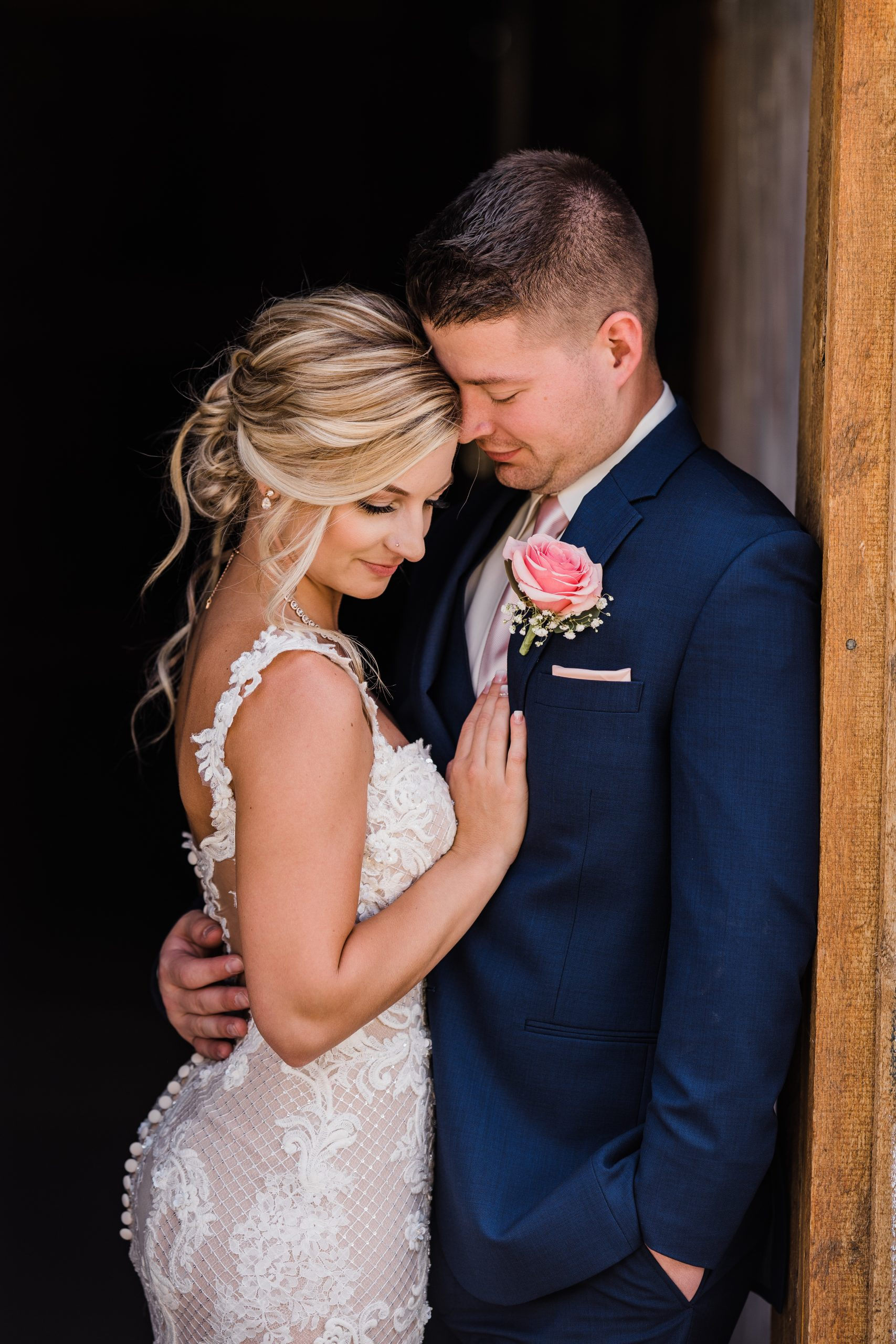 Groom with Real Bride Wearing Lace Wedding Dress Called Abbie by Maggie Sottero