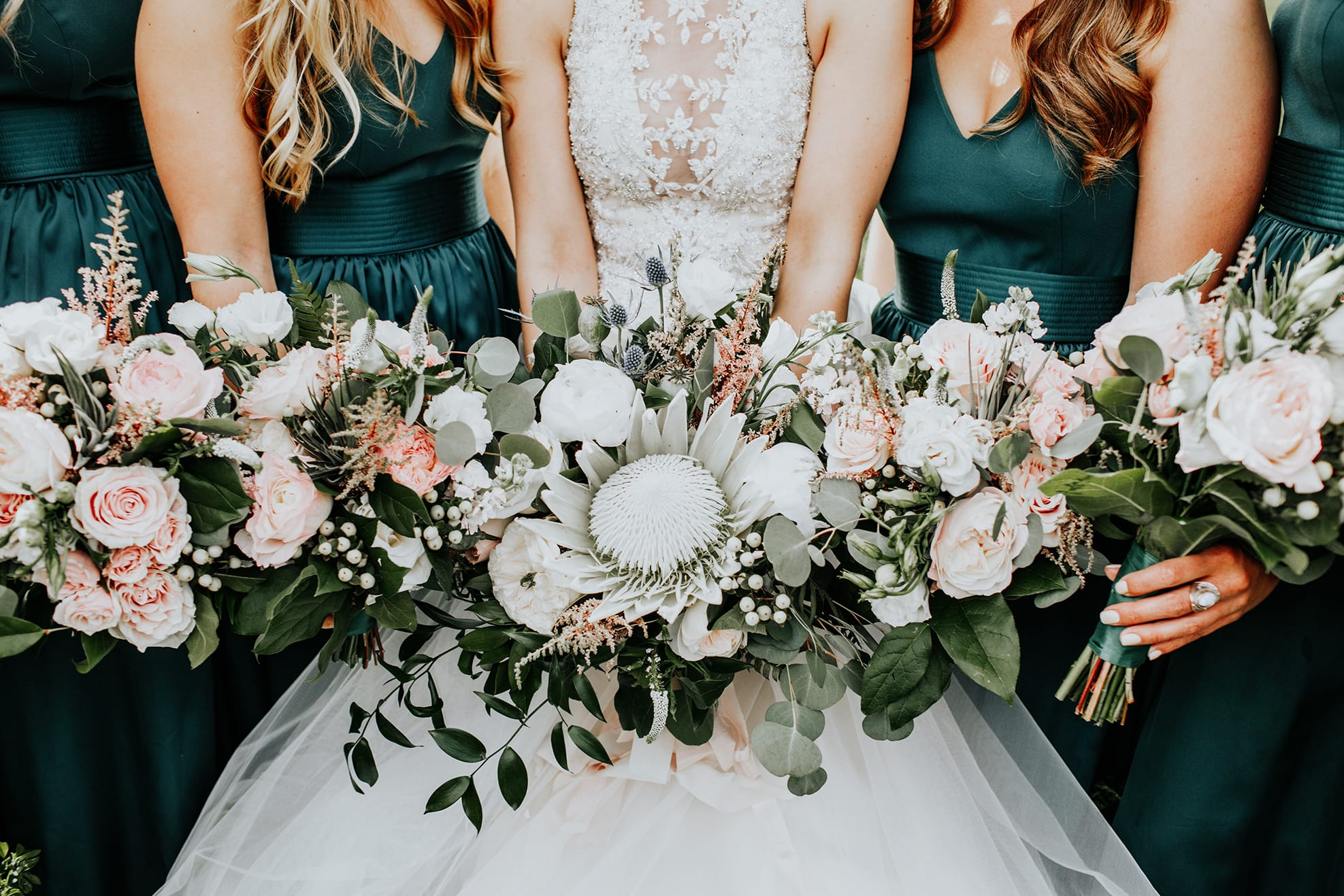 The Maid of Honor's Ultimate Guide to Hosting the Bridal Shower - Lisette by Maggie Sottero with forest green bridesmaids