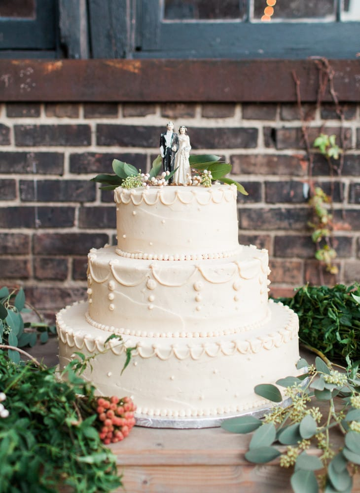 white wedding cake at industrial wedding - Maggie Bride wore Chesney by Maggie Sottero
