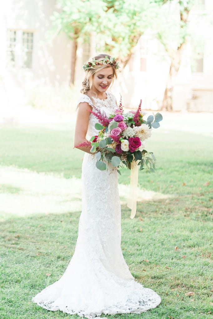 elegant and whimsical garden wedding featuring Trudy by Maggie Sottero