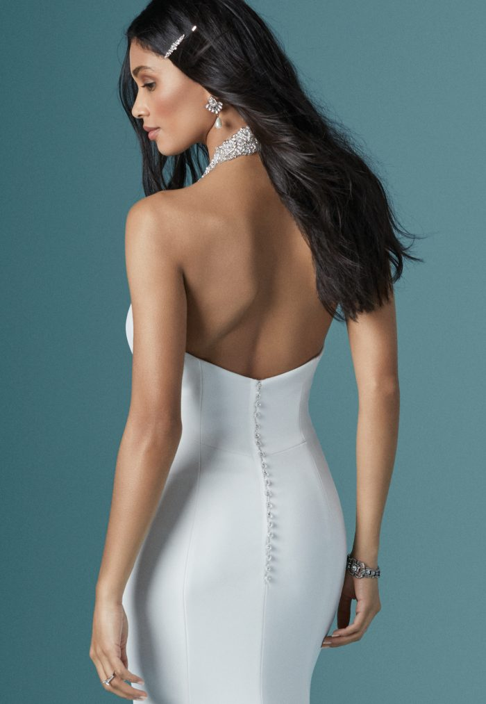 Model Wearing Crepe Halter Neck Bridal Gown Called Dawson by Maggie Sottero