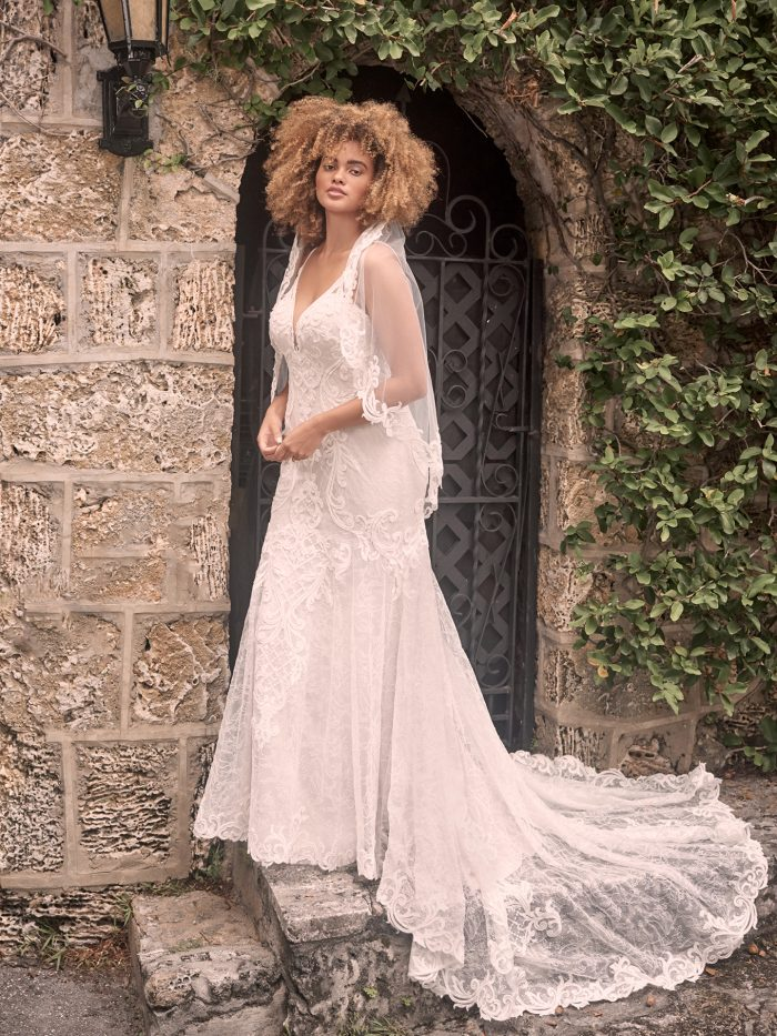 Model Wearing Whimsical Lace Fit-and-Flare Wedding Dress Called Esther by Maggie Sottero