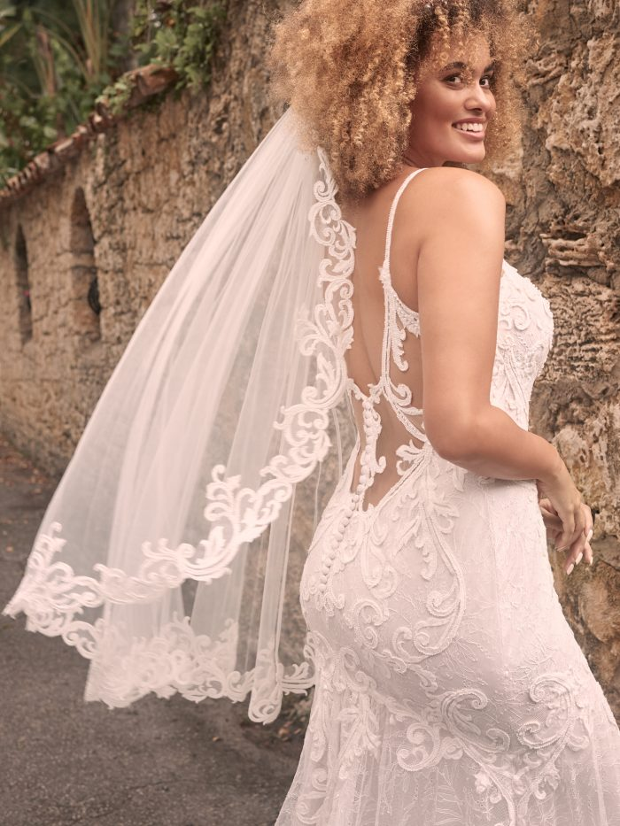 Bride Wearing Backless Lace Wedding Gown with Short Veil Called Esther by Maggie Sottero