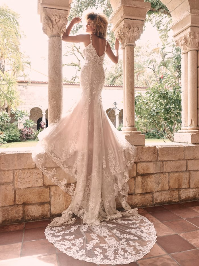 Bride Wearing Floral Lace Bridal Dress with Extended Train Called Farrah by Maggie Sottero