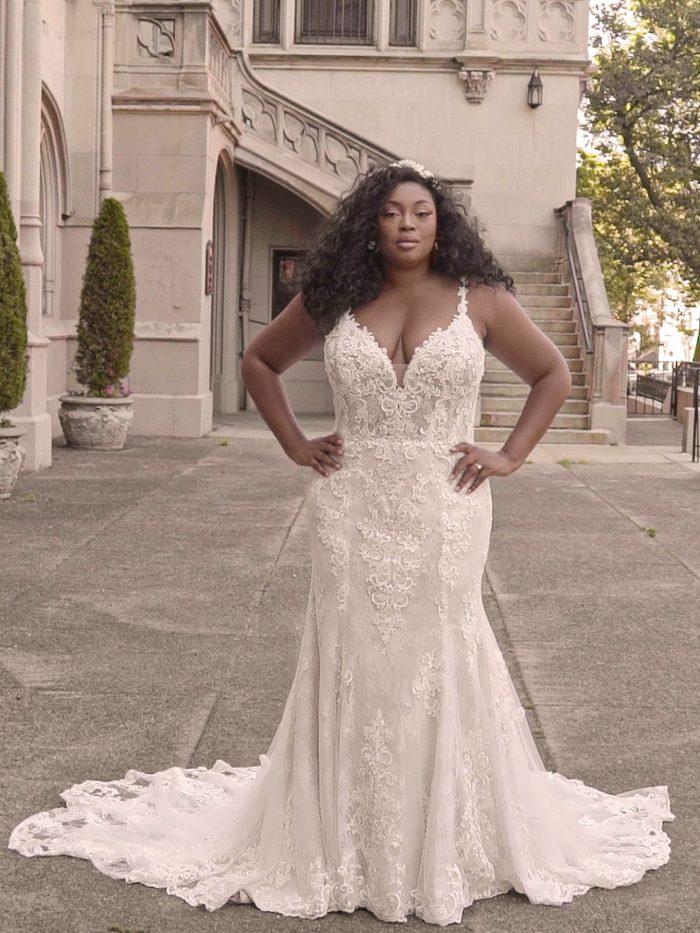 Black Curvy Bride Wearing Plus Size Romantic Floral Lace Bridal Dress Called Farrah by Maggie Sottero