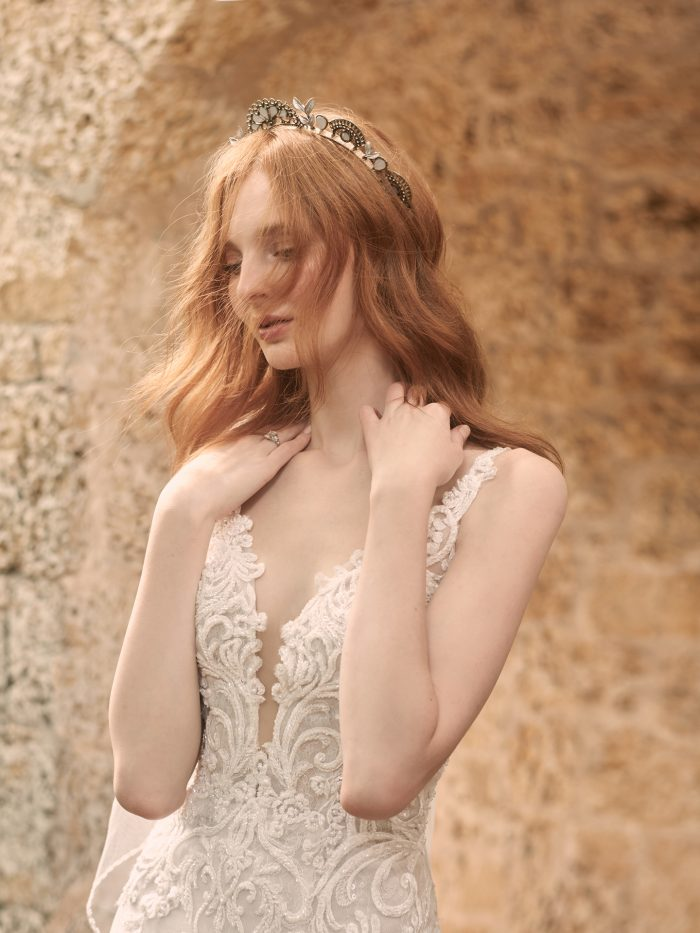 Model Wearing Sleeveless Lace A-line Wedding Dress Called Johanna by Maggie Sottero