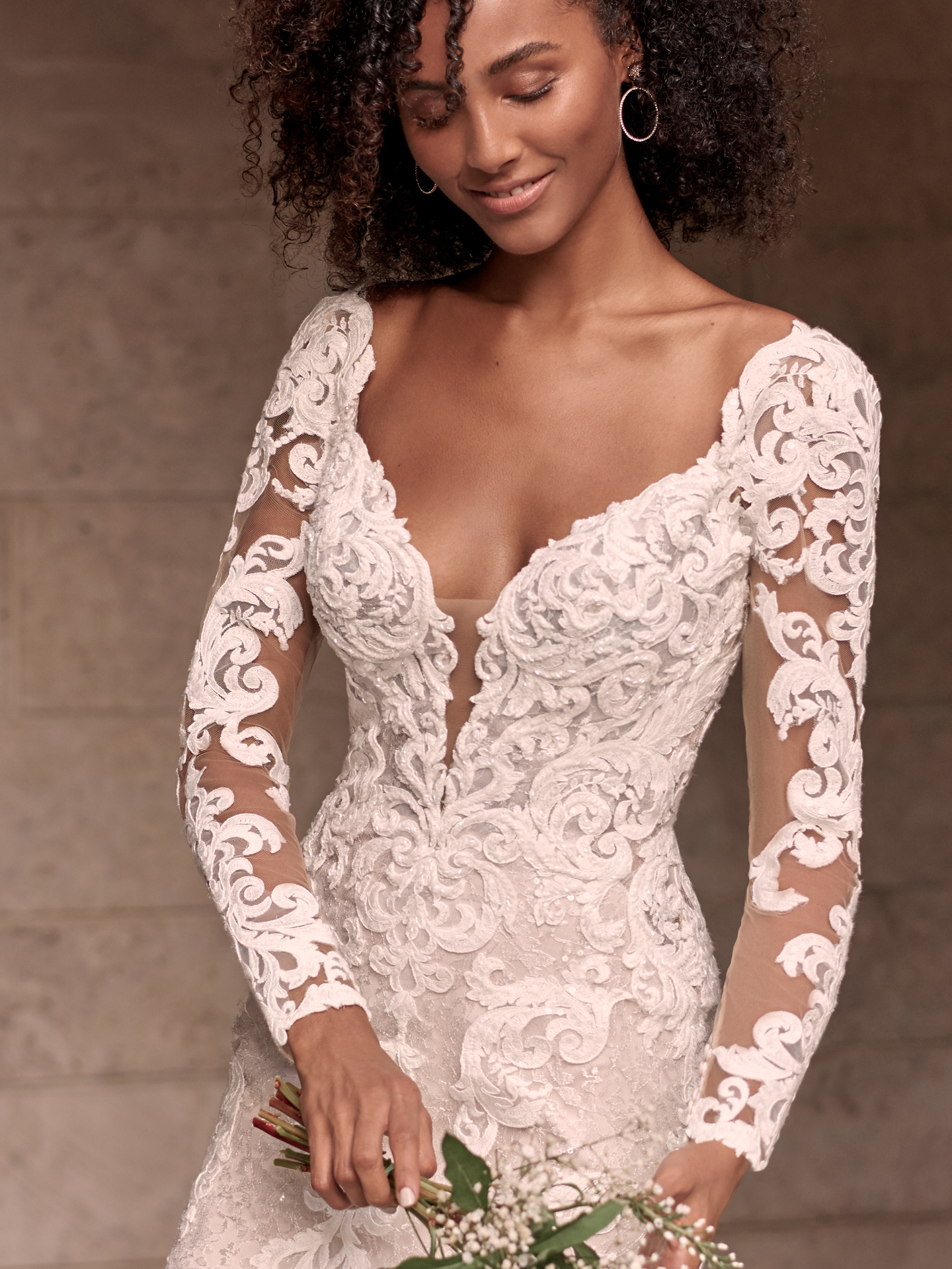 Black Model Wearing Sparkly Lace Sheath Bridal Gown Called Tuscany Royale by Maggie Sottero