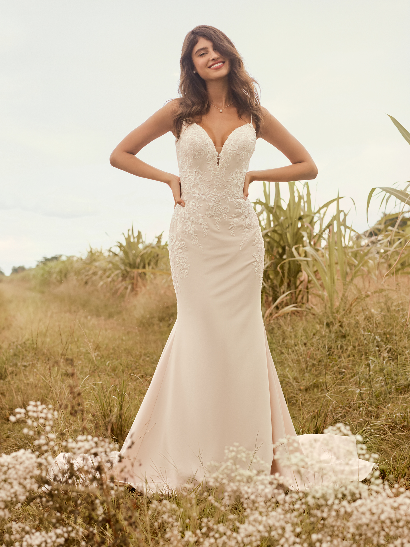 Model Wearing Casual Lace Sheath Bridal Gown Called Aubrey by Rebecca Ingram