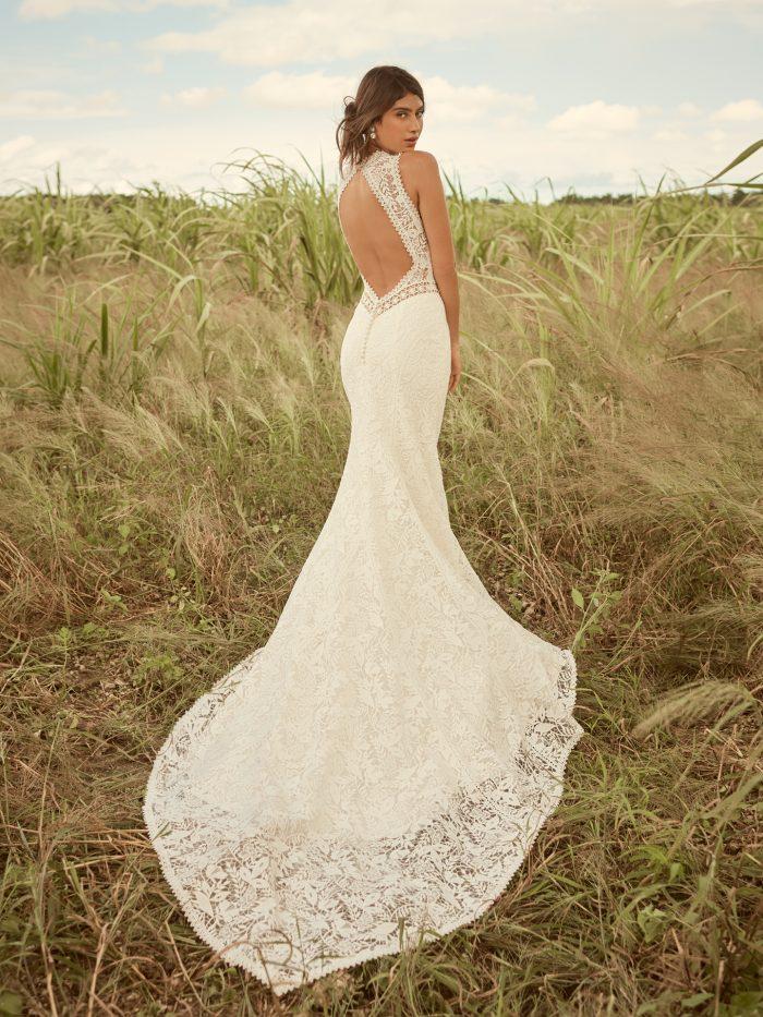 Model Wearing Key Hole Back Boho Wedding Gown Called Belinda by Rebecca Ingram