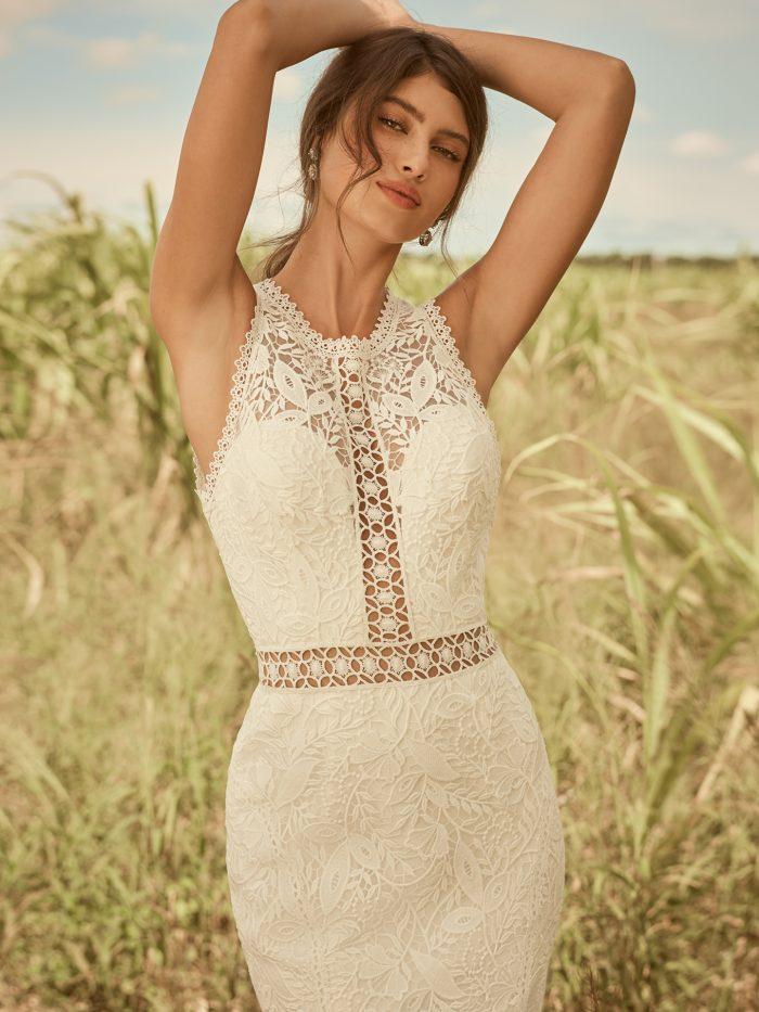 Model Wearing Unique Boho Lace Sheath Bridal Dress Called Belinda by Rebecca Ingram