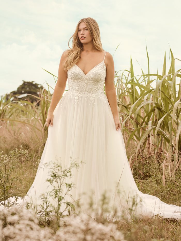 Bride Wearing Affordable Spaghetti Strap A-line Bridal Gown Called Holly by Rebecca Ingram