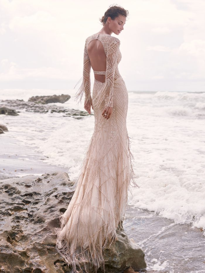 Bride Wearing Art Deco Statement-Back Wedding Dress Called Andrew by Sottero and Midgley