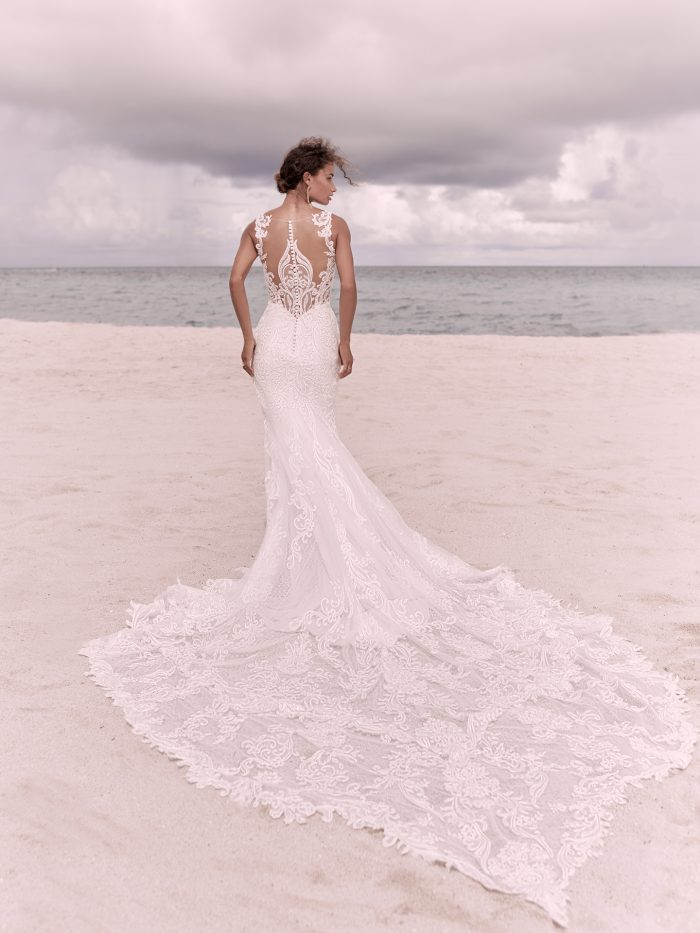Bride on Beach Wearing Intricate Statement-Back Wedding Dress Called Hamilton by Sottero and Midgley