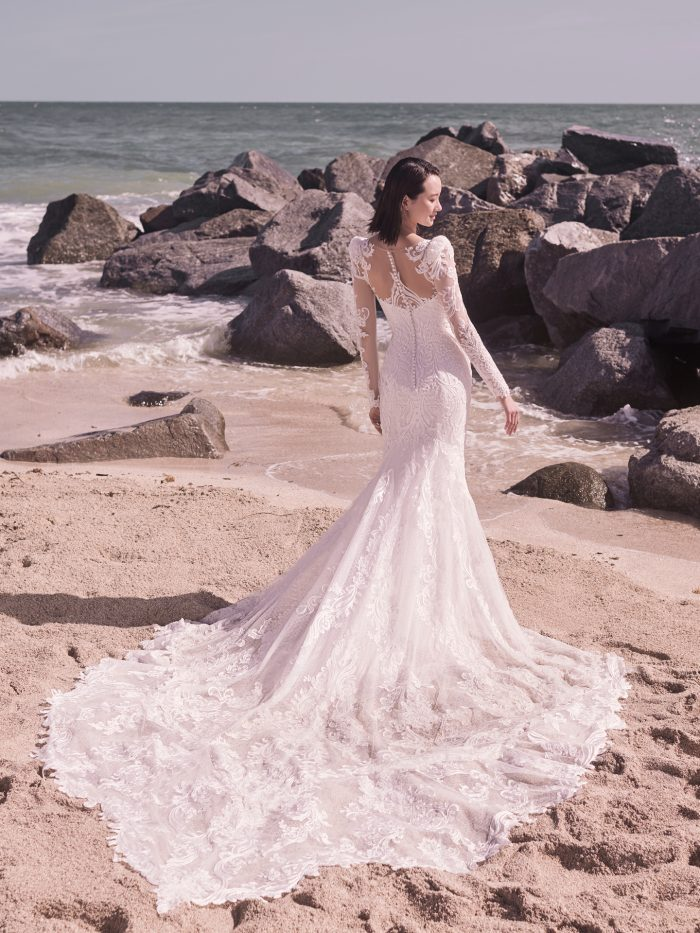 Model Wearing Plus Size Wedding Gown Called Hamilton Lynette by Sottero and Midgley