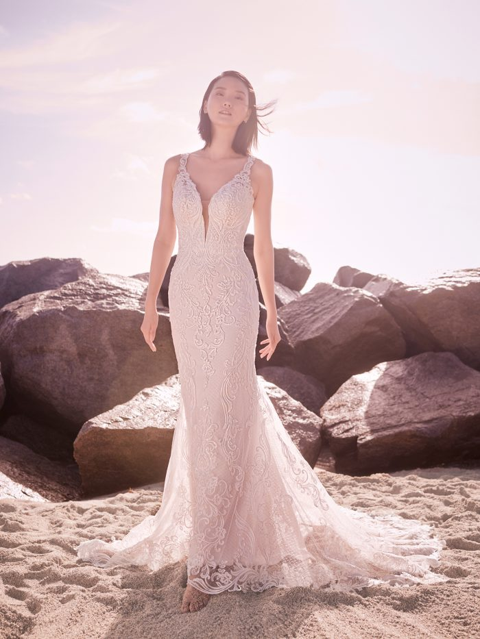 Model Wearing Elegant Vintage Sheath Wedding Dress Called Hamilton by Sottero and Midgley