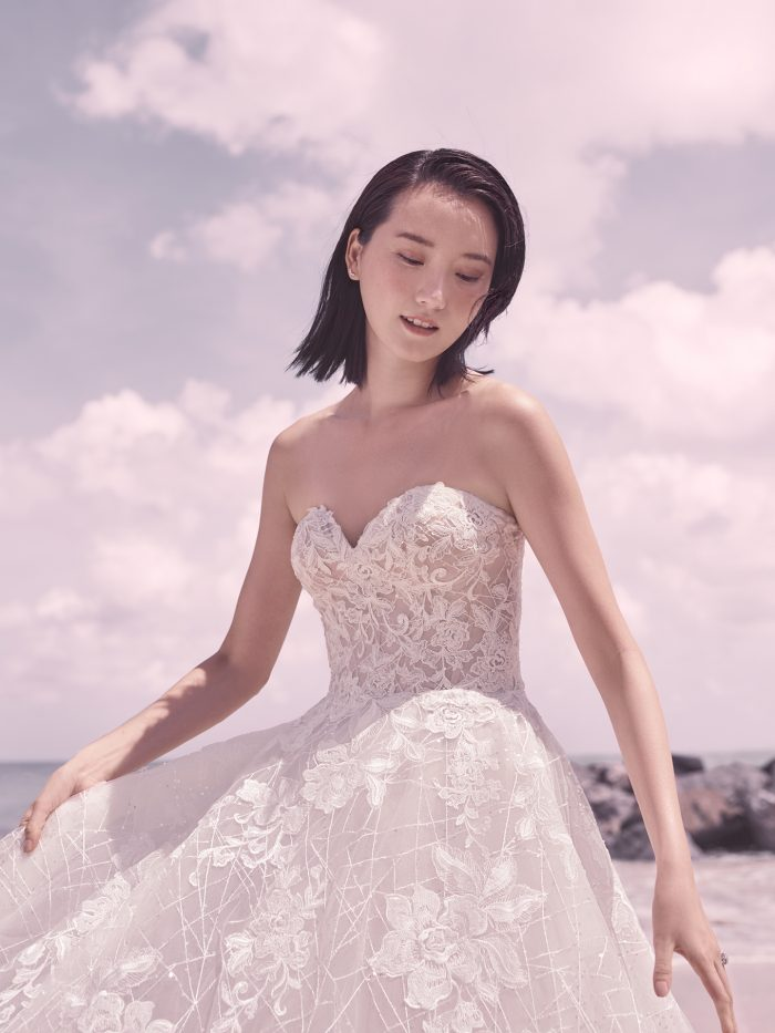 Bride Wearing Strapless Princess Wedding Dress Called Parker by Sottero and Midgley