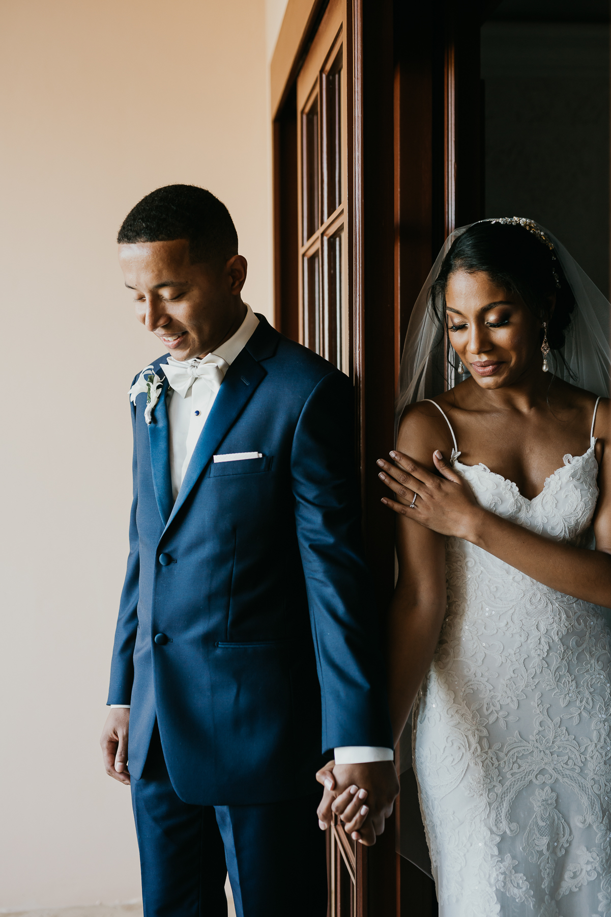 Groom with Real Bride Wearing Lace Sheath Wedding Gown Called Bristol by Sottero and Midgley