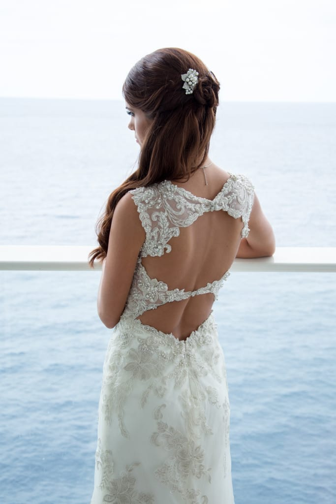 caribbean backdrop wedding - Jessica wearing Jade by Maggie Sottero