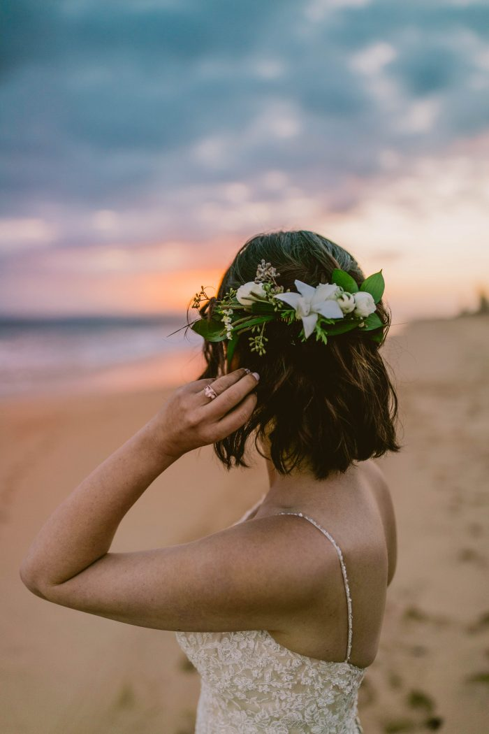 Real Bride on Beach Wearing a Beachy Flower Crown with Elopement Wedding Dress Called Nola by Maggie Sottero