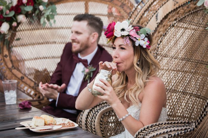 Groom with Real Bride Wearing Big Flower Crown at Festival Wedding