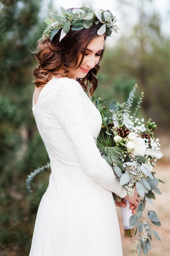 Real Bride Wearing Whimsical Flower Crown with Modest A-line Wedding Dress Called Deirdre Marie by Maggie Sottero