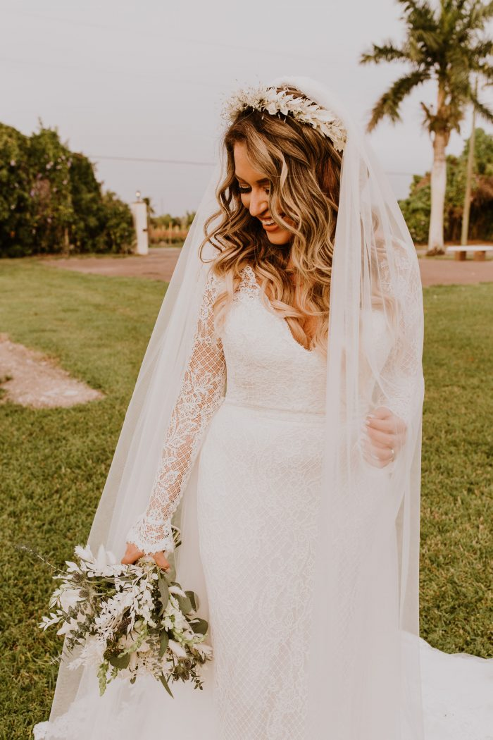 Real Bride Wearing White Boho Flower Crown and Lace Sheath Wedding Dress Called Antonia by Maggie Sottero