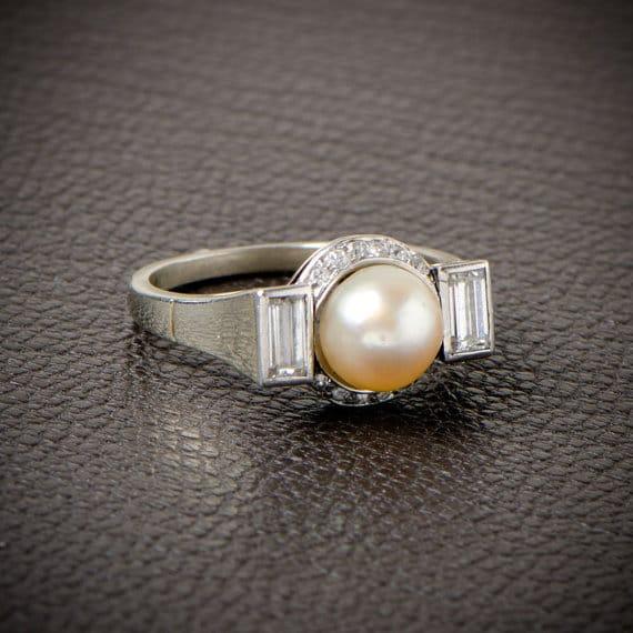 Antique Natural Pearl Engagement Ring. Circa 1920.