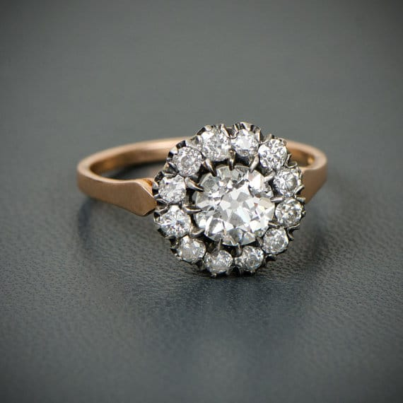 Victorian Style Cluster Engagement Ring