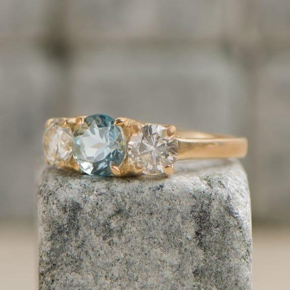 Vintage Aquamarine and Diamond Engagement Ring. Circa 1950.