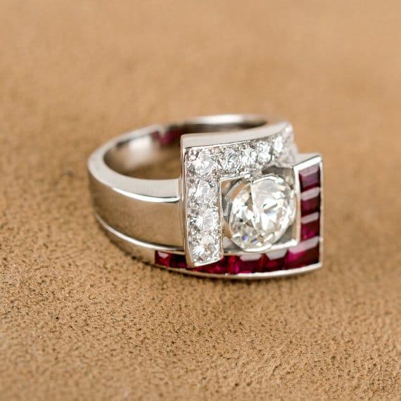 Vintage Diamond Ring with Rubies and Diamonds. Circa 1950