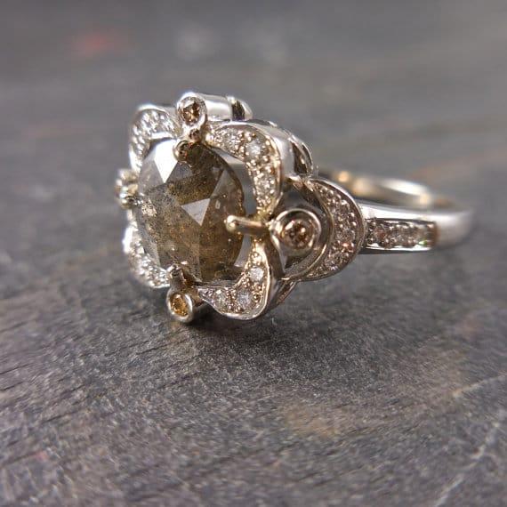 Victorian Inspired Grey Diamond Engagement ring