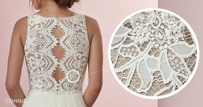 Seven Types of Lace Wedding Dresses To Know When Shopping For A Wedding Dress: Maggie Sottero's Lace Library. Connie wedding dress by Rebecca Ingram