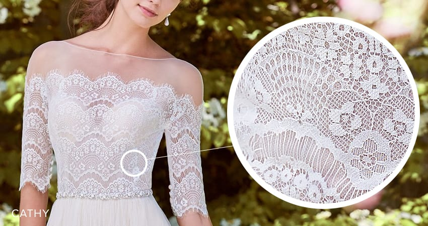 Seven Types of Lace Wedding Dresses To Know When Shopping For A Wedding Dress: Maggie Sottero's Lace Library. Cathy wedding dress by Rebecca Ingram