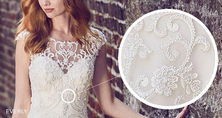 Seven Types of Lace Wedding Dresses To Know When Shopping For A Wedding Dress: Maggie Sottero's Lace Library. Everly wedding dress by Maggie Sottero