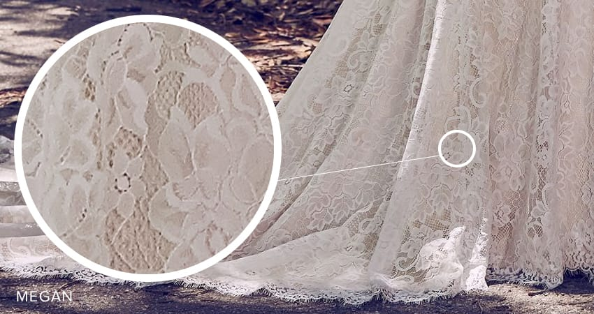 Seven Types of Lace Wedding Dresses To Know When Shopping For A Wedding Dress: Maggie Sottero's Lace Library. Megan knit lace wedding dress by Maggie Sottero