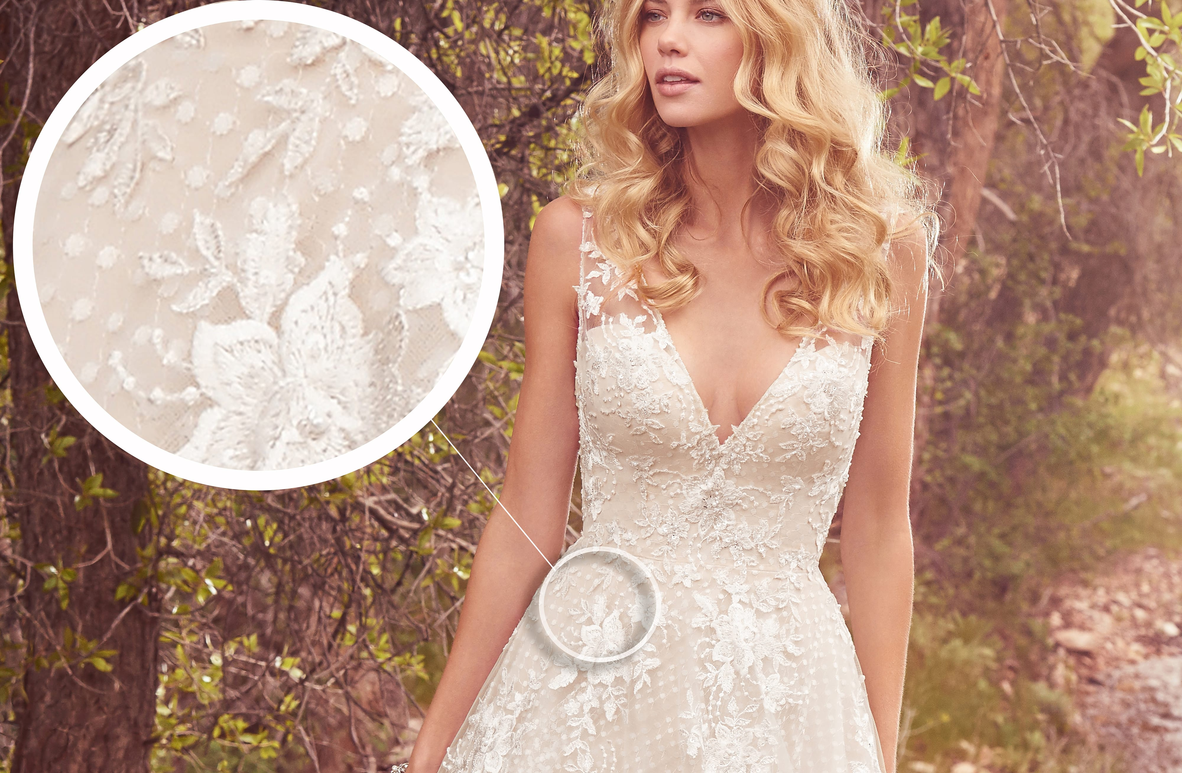 Seven Types of Lace Wedding Dresses To Know When Shopping For A Wedding Dress: Maggie Sottero's Lace Library. Meryl wedding dress by Maggie Sottero