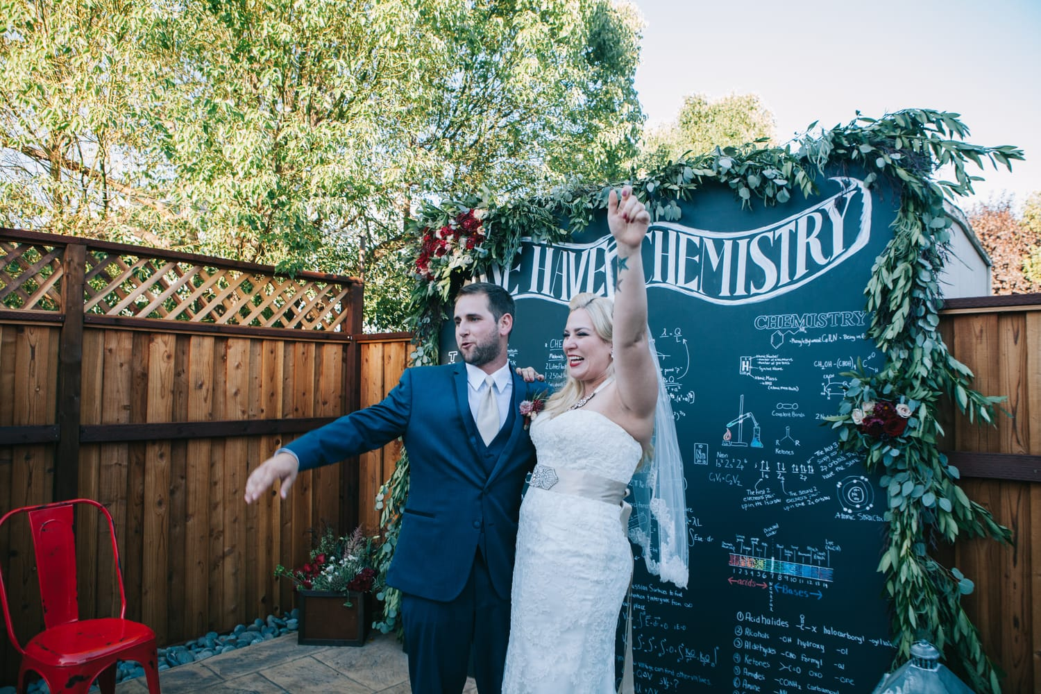 Maggie Bride, Christy, wore our Chesney gown: Christy and James' Chemistry-themed Wedding
