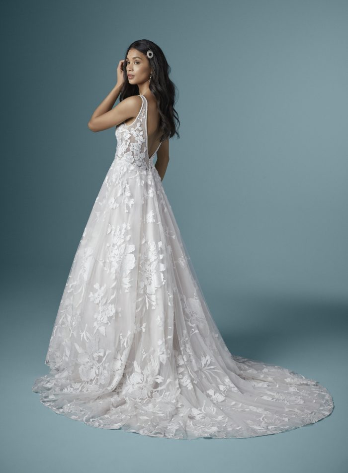 Model Wearing Lightweight A-line Wedding Dress in Misty Mauve Called Sasha by Maggie Sottero