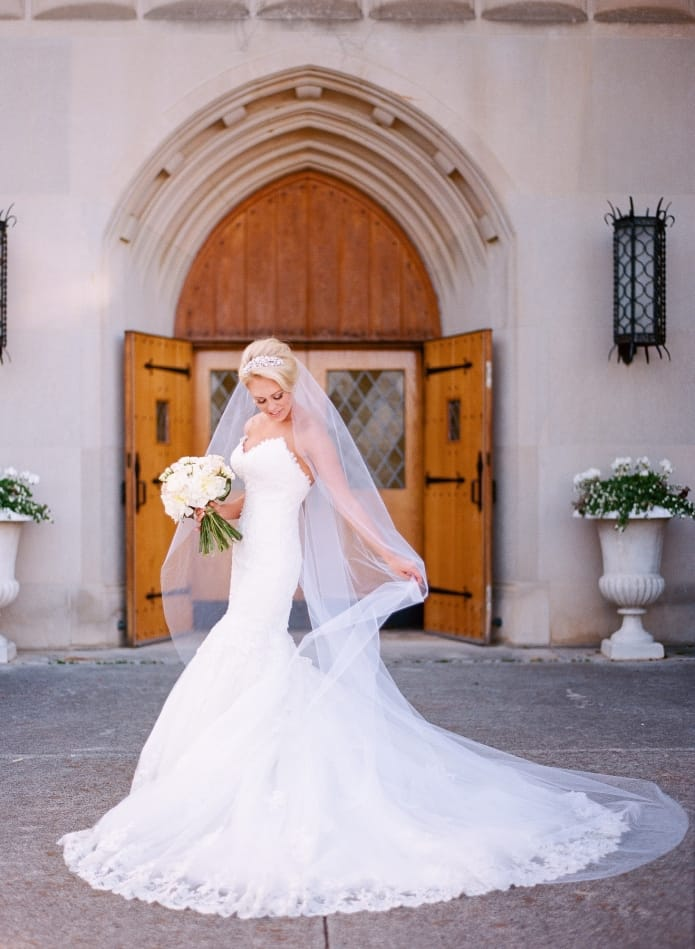 Picking A Perfect Bridal Veil Guide by Maggie Sottero. Cathedral veil on Maggie Bride Stefanie - Bamber Photography