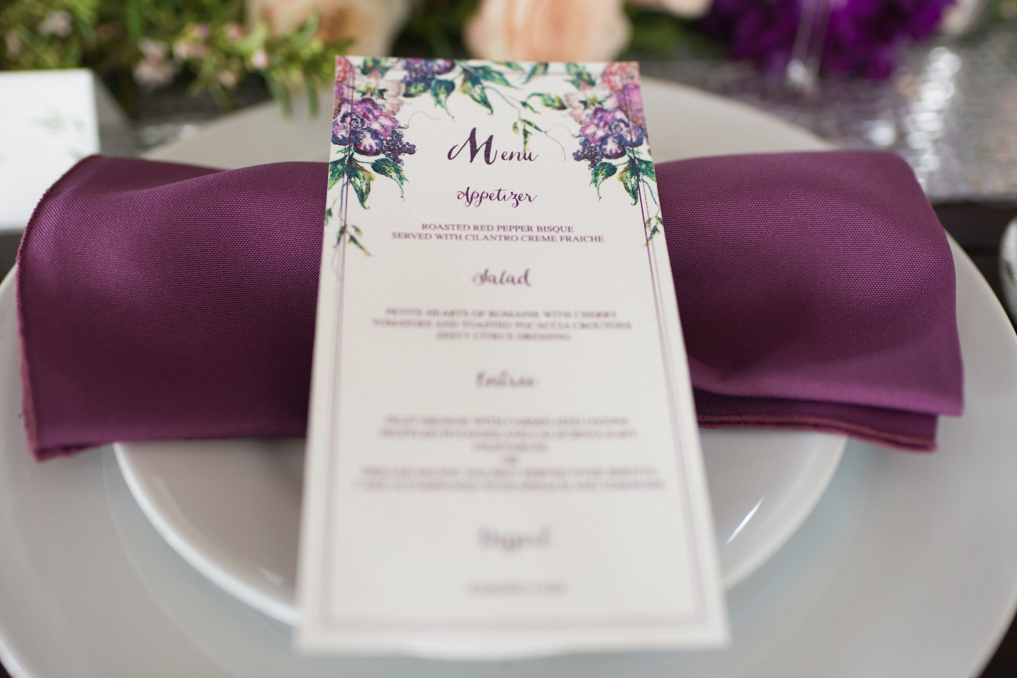 Purple Winter Wedding with Vintage Details - styled photoshoot featuring Simone by Sottero and Midgley