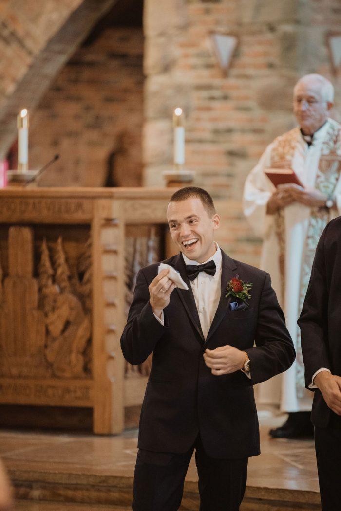 Groom Crying as Bride Walks Down the Aisle