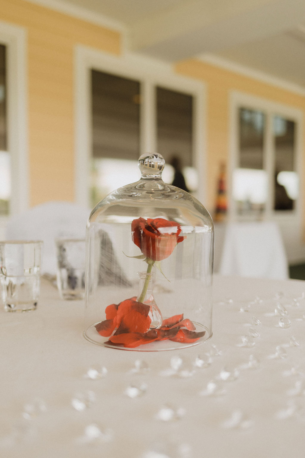 Red Rose in Glass at Beauty and the Beast Wedding